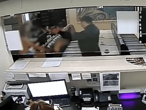 Topless woman fights off security guard in the strangest CCTV footage ever
