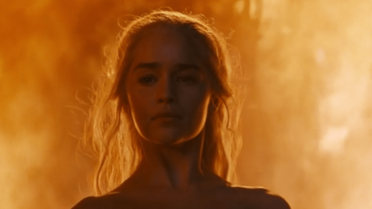 Daenerys emerges from the flames in The Book Of The Stranger (Picture: HBO)
