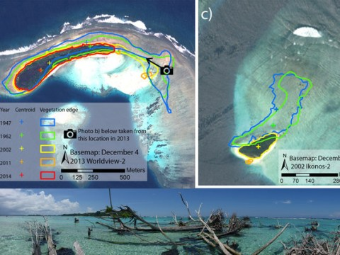 Five islands in the Pacific drowned by rising sea levels