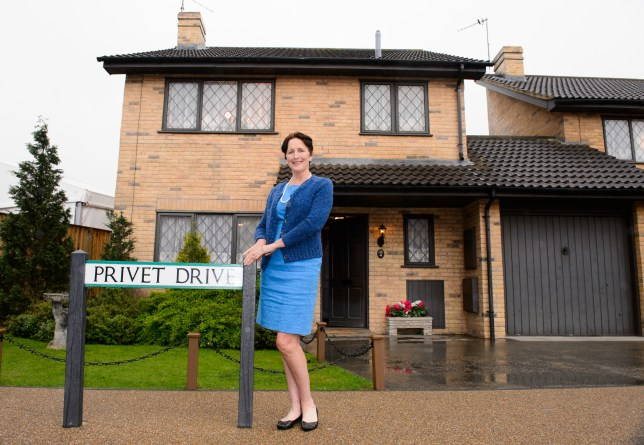 Fiona Shaw, Aunt Petunia in the Harry Potter film series, opens the set of number four, Privet Drive to visitors for the first time at Warner Bros. Studio Tour London – The Making of Harry Potter for a limited time only.