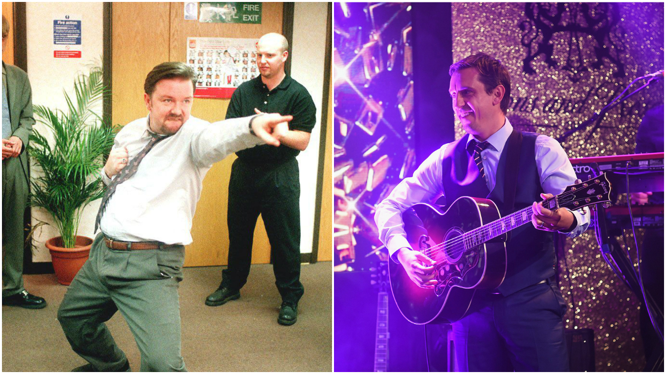 Manchester United legend Gary Neville goes full David Brent playing guitar at charity event with England squad