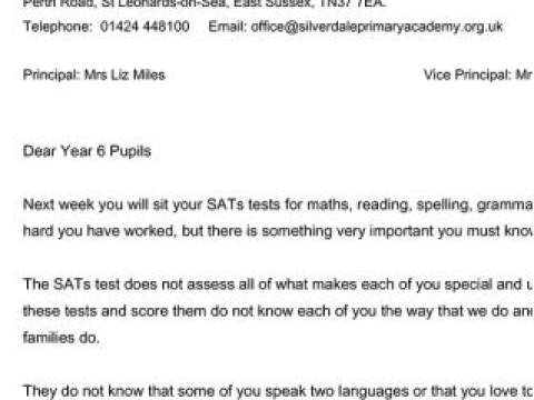 Parents' tears over letters schools are sending about SATs