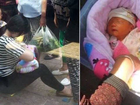 Young mum breastfeeds abandoned baby found in cardboard box