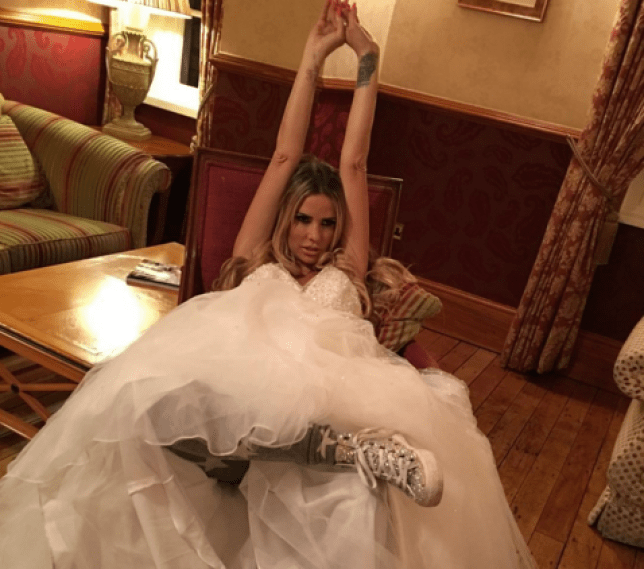 'I'm here' Katie Price posed in a wedding dress on Instagram (Picture: Katie Price/Instagram)