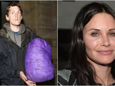 Courteney Cox signs 'all the best' on homeless Mancunian's sleeping bag