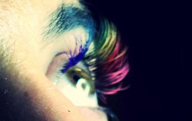 rainbow lashes beauty trend