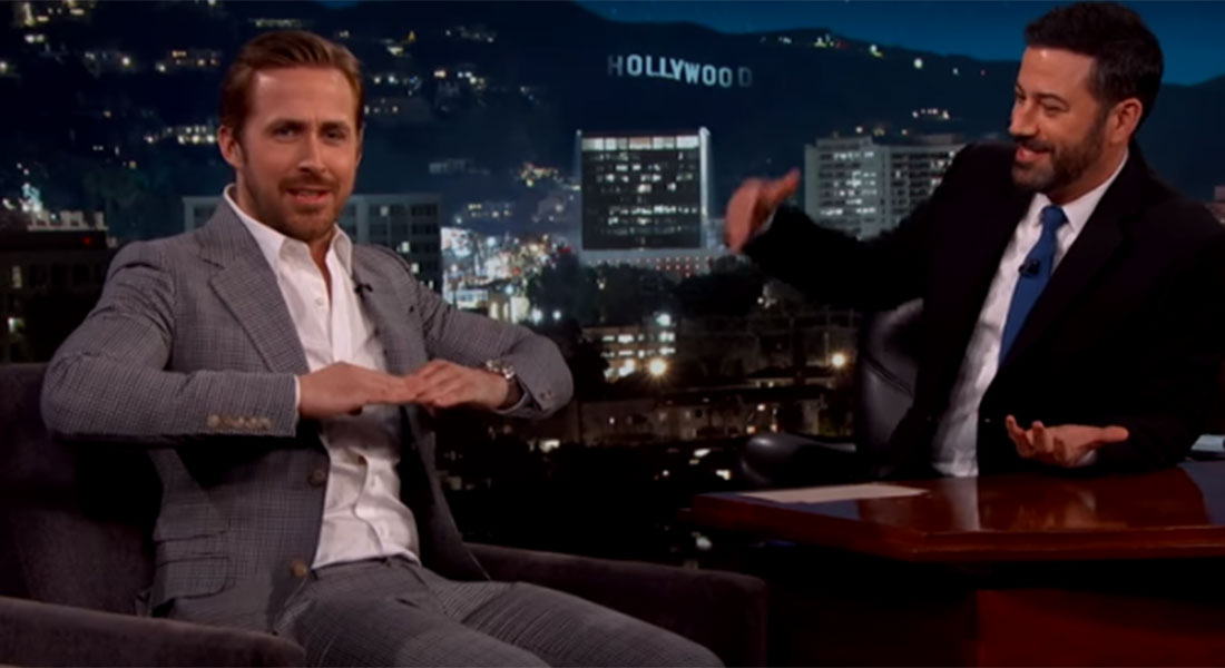 'It's wildly inappropriate': Ryan Gosling admits his suit is too tight during Jimmy Kimmel appearance