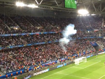 Over to you Uefa: Russia risk elimination from Euro 2016 after setting off flare during Slovakia match