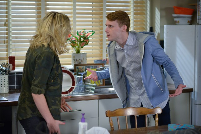 WARNING: Embargoed for publication until 00:00:01 on 14/06/2016 - Programme Name: EastEnders - TX: 24/06/2016 - Episode: EastEnders April - June 2016 - 5306 (No. n/a) - Picture Shows: *STRICTLY NOT FOR PUBLICATION UNTIL 00:01HRS, TUESDAY 14th JUNE, 2016* Jay begs Roxy for the drugs. Roxy Mitchell (RITA SIMONS), Jay Mitchell (JAMIE BORTHWICK) - (C) BBC - Photographer: Jack Barnes