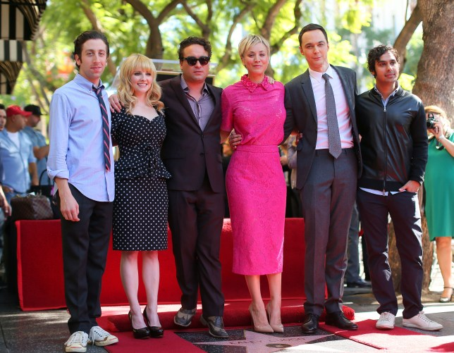 HOLLYWOOD, CA - OCTOBER 29: Actress Kaley Cuoco (3rd-R) poses with the cast of the Big Bang Theory at the Hollywood Walk of Fame October 29, 2014 in Hollywood, California. (Photo by Mark Davis/Getty Images)