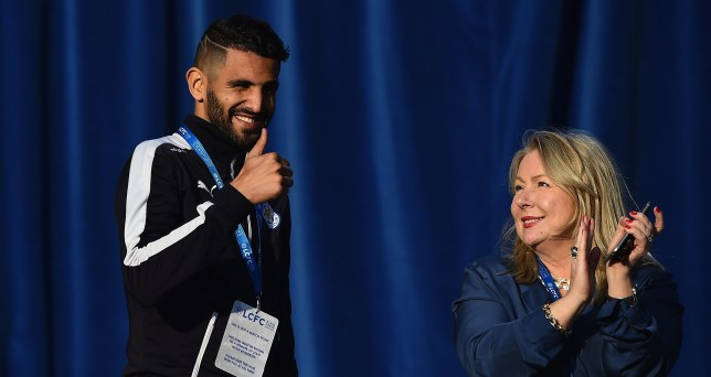 LEICESTER, ENGLAND - MAY 16: Riyad Mahrez of Leicester City gives the thumbs up on stage during the Leicester City Barclays Premier League Winners Bus Parade on May 16, 2016 in Leicester, England. (Photo by Laurence Griffiths/Getty Images)