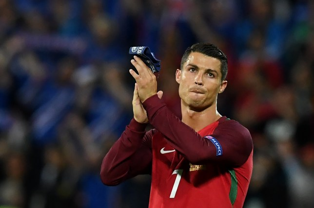 Portugal's forward Cristiano Ronaldo acknowledges the crowd at the end of the Euro 2016 group F football match between Portugal and Iceland at the Geoffroy-Guichard stadium in Saint-Etienne on June 14, 2016. Portugal drew 1-1 with Iceland. / AFP / FRANCISCO LEONG (Photo credit should read FRANCISCO LEONG/AFP/Getty Images)