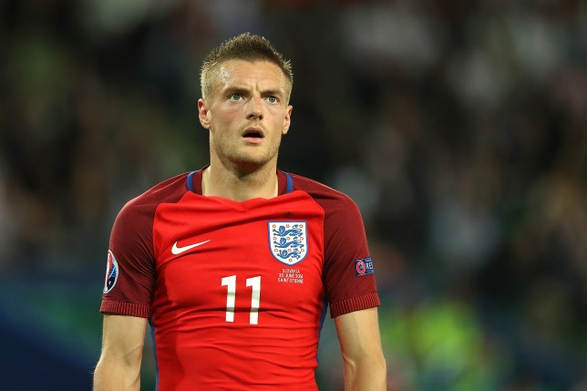 SAINT-ETIENNE, FRANCE - JUNE 20: Jamie Vardy of England reacts during the UEFA EURO 2016 Group B match between Slovakia and England at Stade Geoffroy-Guichard on June 20, 2016 in Saint-Etienne, France. (Photo by Matthew Ashton - AMA/Getty Images)