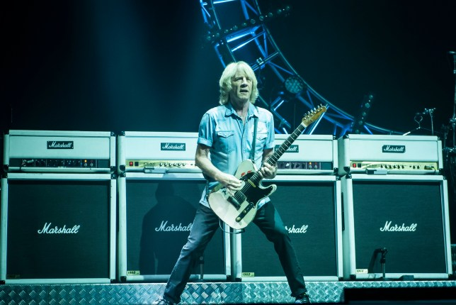Rick Parfitt of Status Quo on stage at the Isle of Wight Festival, in Seaclose Park, Newport, Isle of Wight. PRESS ASSOCIATION Photo. Picture date: Thursday June 9, 2016. See PA story SHOWBIZ Festival. Photo credit should read: David Jensen/PA Wire