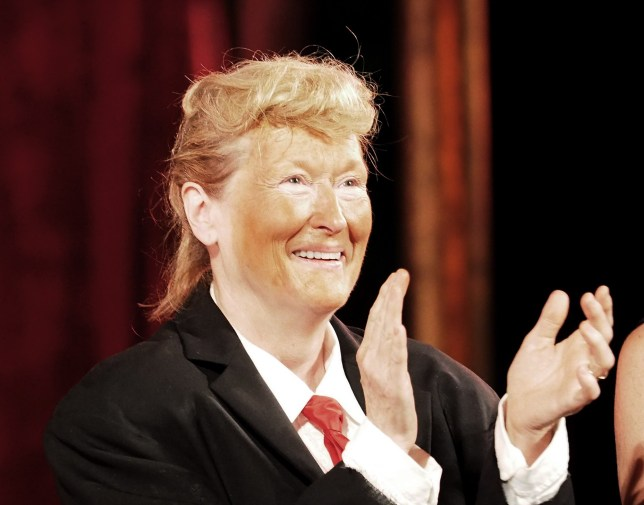 NEW YORK, NY - JUNE 06: Meryl Streep, dressed as Donald Trump, performs onstage at the 2016 Public Theater Gala at Delacorte Theater on June 6, 2016 in New York City. (Photo by Paul Zimmerman/WireImage)