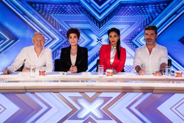 Start of filming for the 2016 X Factor. The X Factor Judges, Simon Cowell, Sharon Osbourne, Nicole Scherzinger and Louis Walsh visit Leicester's King power Stadium for the first day of the room auditions. <P> Pictured: Louis Walsh, Sharon Osbourne, Nicole Scherzinger and Simon Cowell