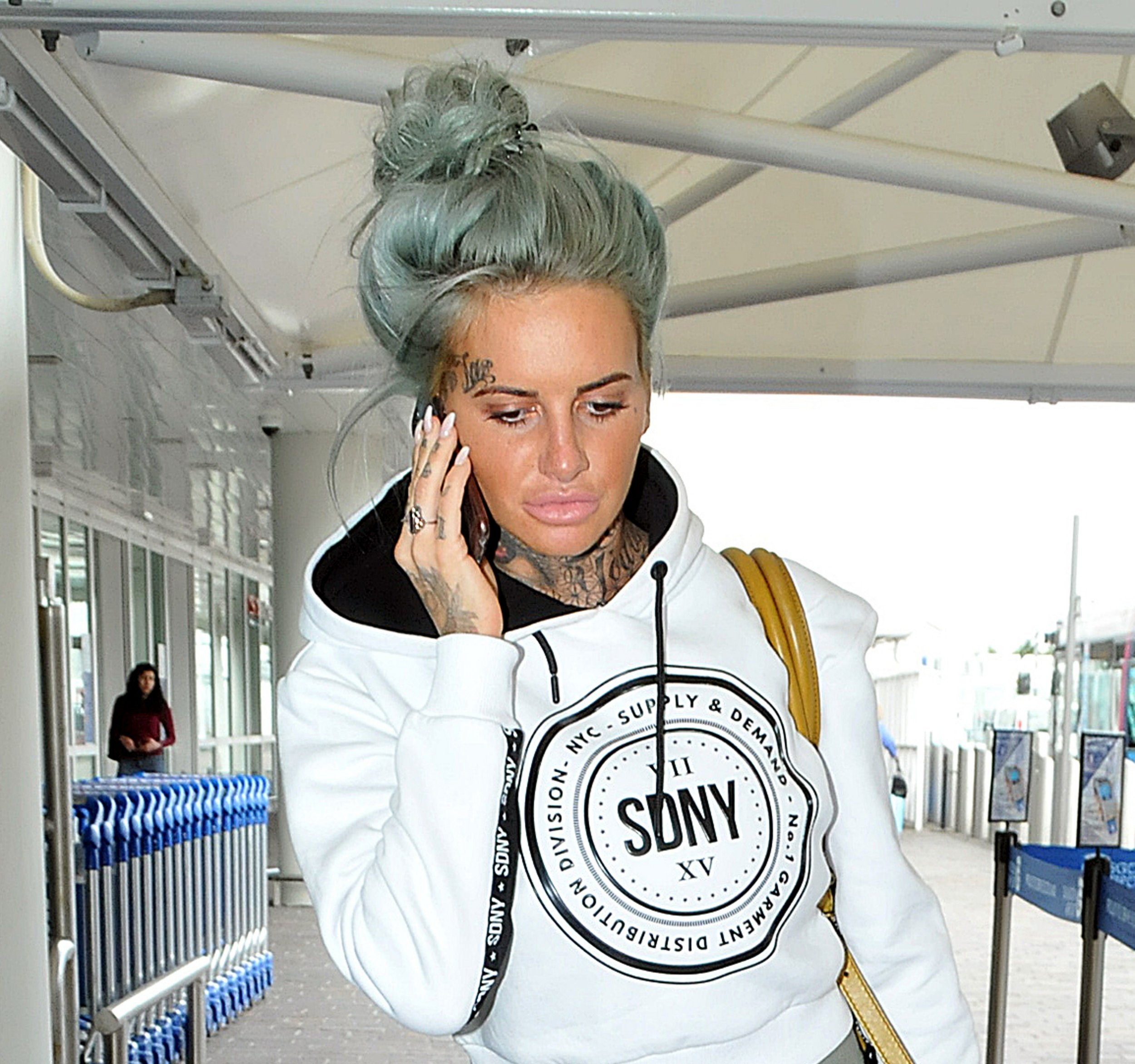 29.May.2016 - Glasgow - Scotland....**EXCLUSIVE ALL ROUND PICTURES**....Reality star Jemma Lucy seems busy on the phone as the Ex on the Beach star is spotted arriving at Glasgow Airport. ....BYLINE MUST READ : XPOSUREPHOTOS.COM....***UK CLIENTS - PICTURES CONTAINING CHILDREN PLEASE PIXELATE FACE PRIOR TO PUBLICATION***....UK CLIENTS MUST CALL PRIOR TO TV OR ONLINE USAGE PLEASE TELEPHONE 0208 344 2007