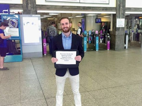 Man gets a job after hustling with his CV at a train station