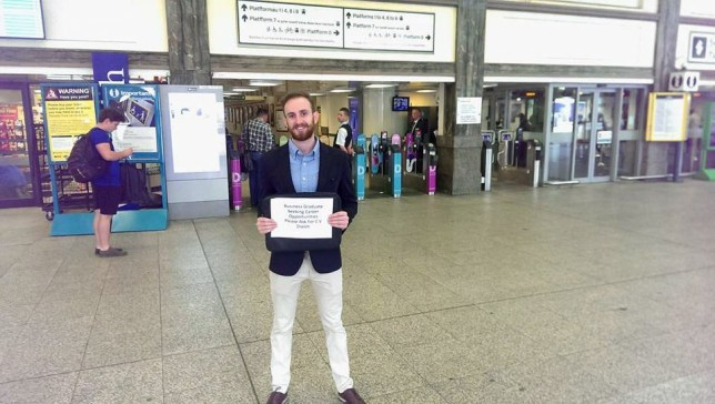 "This man is standing in Cardiff Central train station with a sign asking commuters for a job. We went to speak to Thomas Tilley, 25, while he was in the station on Monday morning with the sign reading: ""Business Graduate. Seeking career opportunities. Please ask for CV. Diolch."""