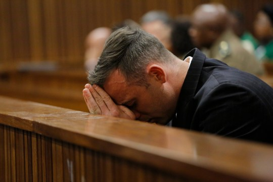 epa05363437 South African Paralympian Oscar Pistorius breaks down in court as he listens to testimony during his sentencing hearing at the high court in Pretoria, South Africa, 14 June 2016. The Supreme Court of South Africa overturned the High Court's verdict in December 2015, where Oscar Pistorius now faces sentencing for the murder of his girlfriend Reeva Steenkamp on 13 February 2013. EPA/KIM LUDBROOK / POOL