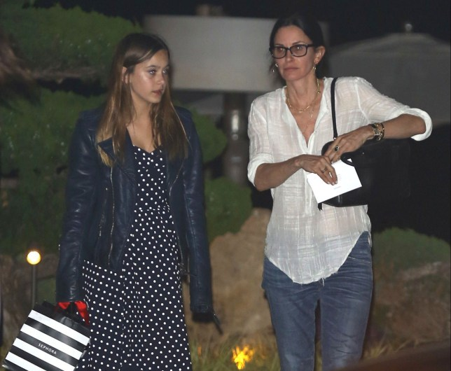 13.June.2016 - Malibu, CA - USA ***AVAILABLE FOR UK AND GERMANY SALE ONLY *** Courteney Cox treats her daughter Coco Arquette to a 12th birthday dinner at Nobu in Malibu. The birthday girl looked classy in a blue and white polka dotted dress with peep toed heels, while her mom dressed casual in a white top and jeans. Coco left the restaurant with a gift bag from Sephora. BYLINE MUST READ: AKM-GSI-XPOSURE ***UK CLIENTS - PICTURES CONTAINING CHILDREN PLEASE PIXELATE FACE PRIOR TO PUBLICATION *** *UK CLIENTS MUST CALL PRIOR TO TV OR ONLINE USAGE PLEASE TELEPHONE 0208 344 2007*