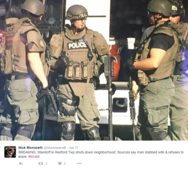 Standoff in Redford township shuts down neighborhood. Sources say man stabed wife and refuses to leave. Nick Monacelli/Twitter