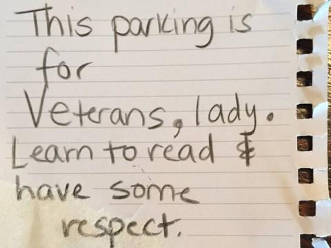Female veteran blasts 'misogynistic' stranger who left rude note on her car