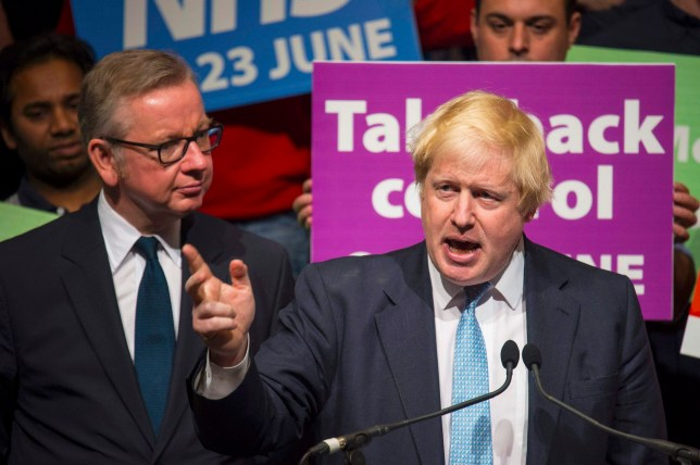 Former London Mayor Boris Johnson speaks as Michael Gove listens at a Vote Leave rally in London, Britain June 19, 2016. Dominic Lipinski/Press Association via REUTERS