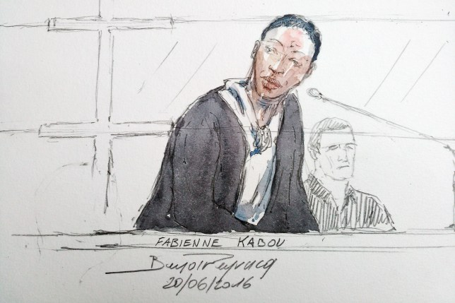This court sketch made on June 20, 2016 shows Fabienne Kabou speaking during the first day of her trial at the Assize Court, in Saint-Omer. Fabienne Kabou faces trial from June 20 for having allegedly killed her 15-month-old daughter, Adelaide, by abandonning her on a beach in Berck-sur-Mer. / AFP PHOTO / BENOIT PEYRUCQBENOIT PEYRUCQ/AFP/Getty Images