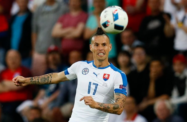 Football Soccer - Slovakia v England - EURO 2016 - Group B - Stade Geoffroy-Guichard, Saint-¿tienne, France - 20/6/16 Slovakia's Marek Hamsik in action REUTERS/Jason Cairnduff Livepic