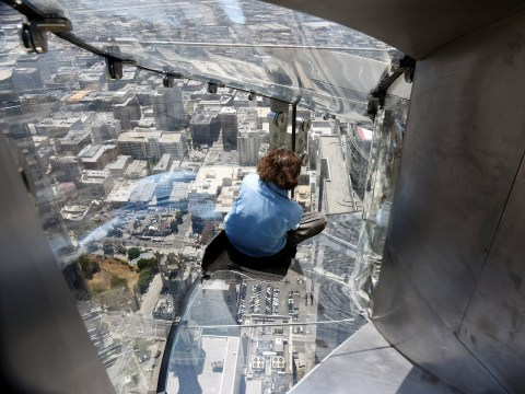 1,000ft high glass slide is now open and it's terrifying
