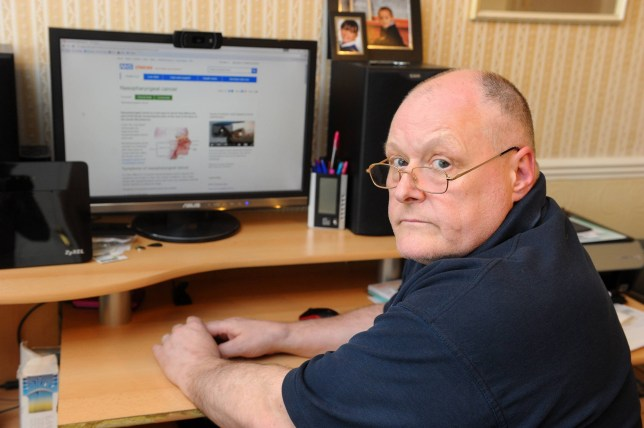 """Kevin Everett of Hull, East Yorkshire diagnoses his own cancer on Google after a year of going back and forward to his GPís at the Calvert Practice, Calvert Lane with no success. See Ross Parry copy RPYCANCER : An engineer is making a complaint to the Care Quality Commission about his GPs who failed to spot that he had cancer - before he used Google to diagnose himself with the illness. Kevin Everett's doctors, suspected asthma, bronchitis and sleep apnoea when he visited them complaining of wheezing and problems with his sinuses. After his condition worsened, a desperate Kevin, of East Yorks, took to Google to search for symptoms of his condition and he discovered that he had nasopharyngeal cancer on the NHS Choices website. And now, Mr Everett, of Anlaby, East Yorks, is about to start intensive radiotherapy and has made an official complaint to the Care Quality Commission about the Calvert Practice, in Hull, East Yorks. Mr Everett said: """"I have no faith in GPs any more. I just wonder if they'd picked it up earlier, would I be going through all this now?"""