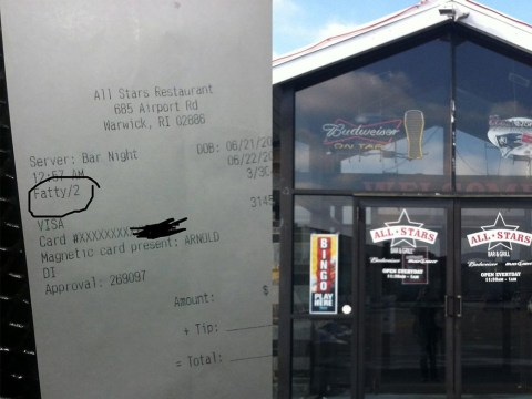 Restaurant owner fires his own son after he called a customer 'Fatty' on receipt