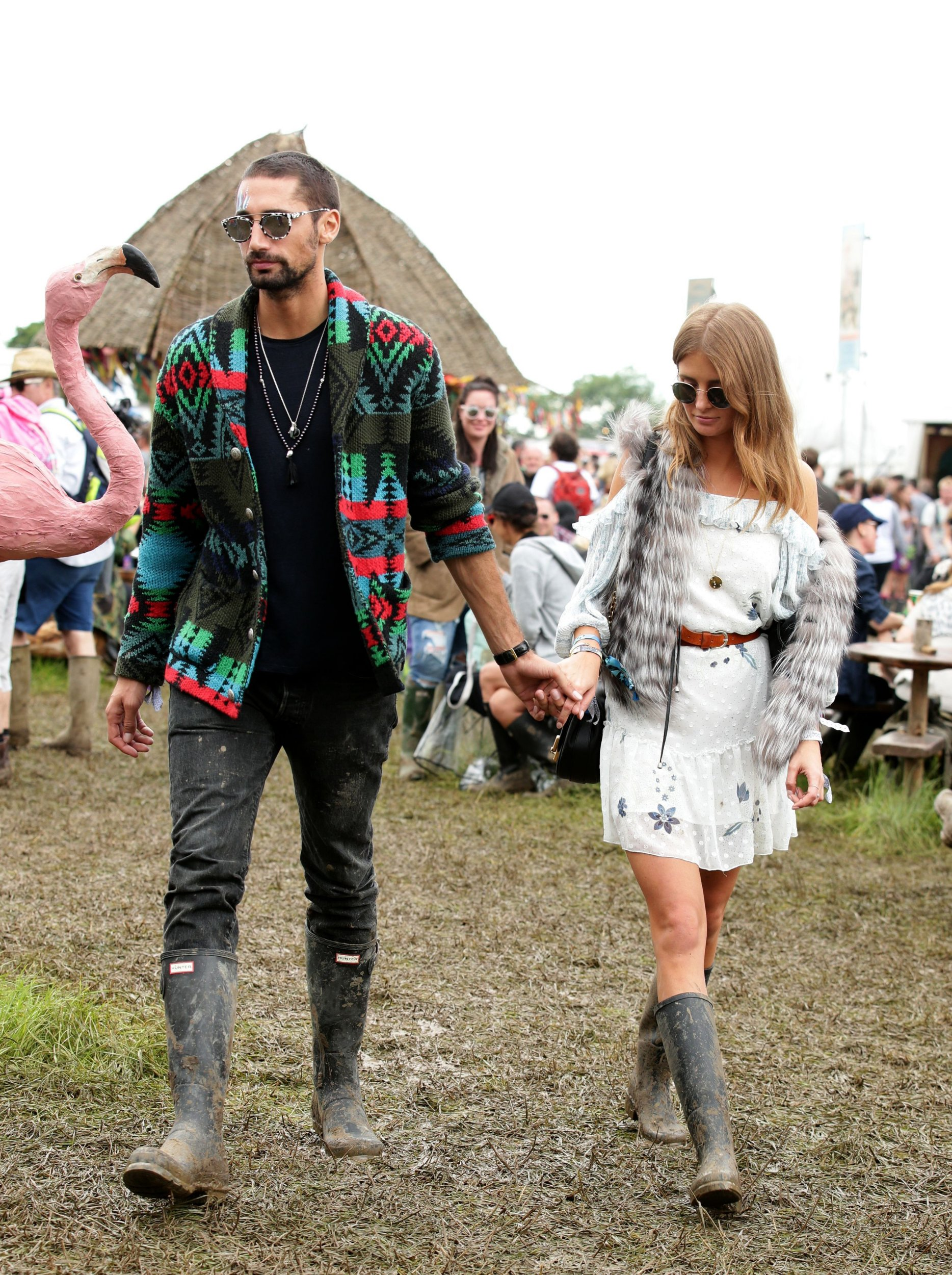 Hugo Taylor and Millie Mackintosh are seen backstage at the Glastonbury Festival, at Worthy Farm in Somerset. PRESS ASSOCIATION Photo. See PA story SHOWBIZ Glastonbury. Picture date: Friday June 24, 2016. Photo credit should read: Yui Mok/PA Wire