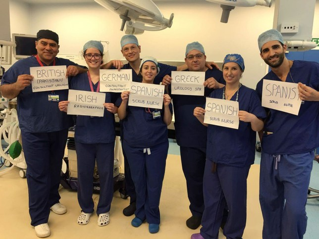 "Undated handout photo of an NHS surgical team who come from around the European Union which has been shared thousands of times online. PRESS ASSOCIATION Photo. Issue date: Monday June 27, 2016. Junaid Masood, who posted the picture while working at Homerton University Hospital in east London, said ""Immigration has been the backbone of the NHS"". See PA story POLITICS EU NHS. Photo credit should read: Junaid Masood/PA Wire NOTE TO EDITORS: This handout photo may only be used in for editorial reporting purposes for the contemporaneous illustration of events, things or the people in the image or facts mentioned in the caption. Reuse of the picture may require further permission from the copyright holder."