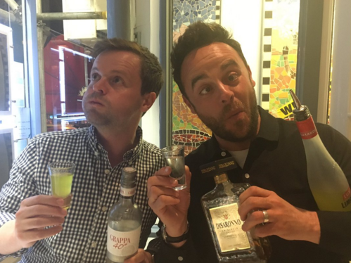 Ant and Dec celebrate with plenty of booze after getting OBEs in the Queen's Birthday Honours list
