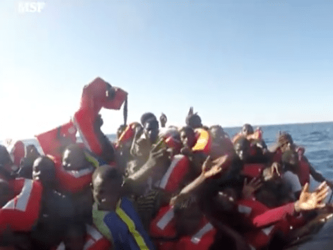 Heartrending footage shows refugee children saved from overcrowded lifeboat