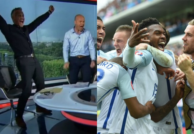 The English contingent of the BBC's punditry team jumped out of their seats when Daniel Sturridge scored (Picture: BBC/Getty Images)
