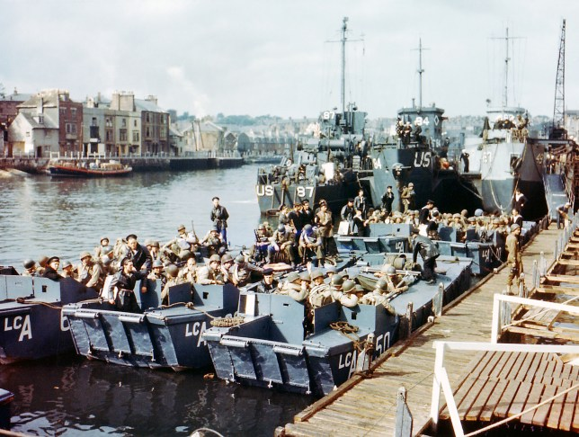 Boats full of United States troops waiting to leave Weymouth, Southern England, to take part in Operation Overlord in Normandy, June 1944. This location was used as a launching place for Allied troops participating in the invasion of Nazi-occupied France on D-Day, 6th June 1944. (Photo by Galerie Bilderwelt/Getty Images)