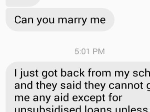 Student asks best friend to marry him for college money in brilliant text-exchange
