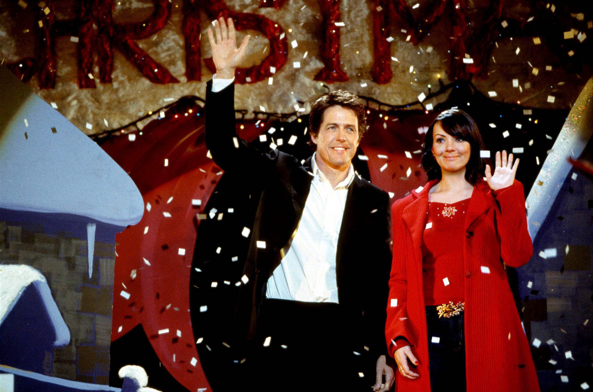 FILM... LOVE ACTUALLY (2003) Hugh Grant (Prime Minister) and Martine McCutcheon (Tea lady).