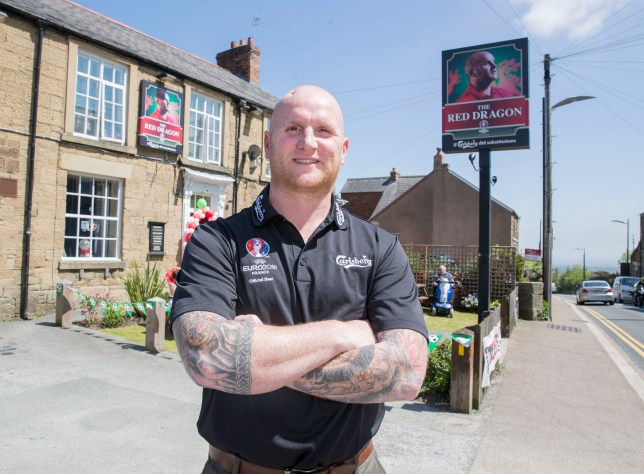 John Hartson promotes Carlsberg UEFA Euro 2016 Pubstitutions at the Red Lion, Heol Maelor, Coedpoeth Wrexham. Photographer:Paul Currie/REX/Shutterstock
