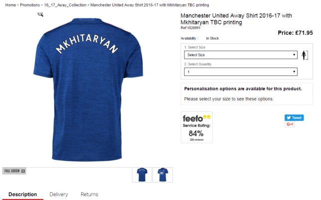 Henrikh Mkhitaryan shirts went on sale (Picture: Manutd.com)