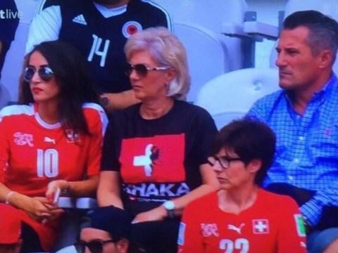 Granit and Taulant Xhaka's mum plays it safe with half-and-half shirt at Euro 2016 Switzerland v Albania clash