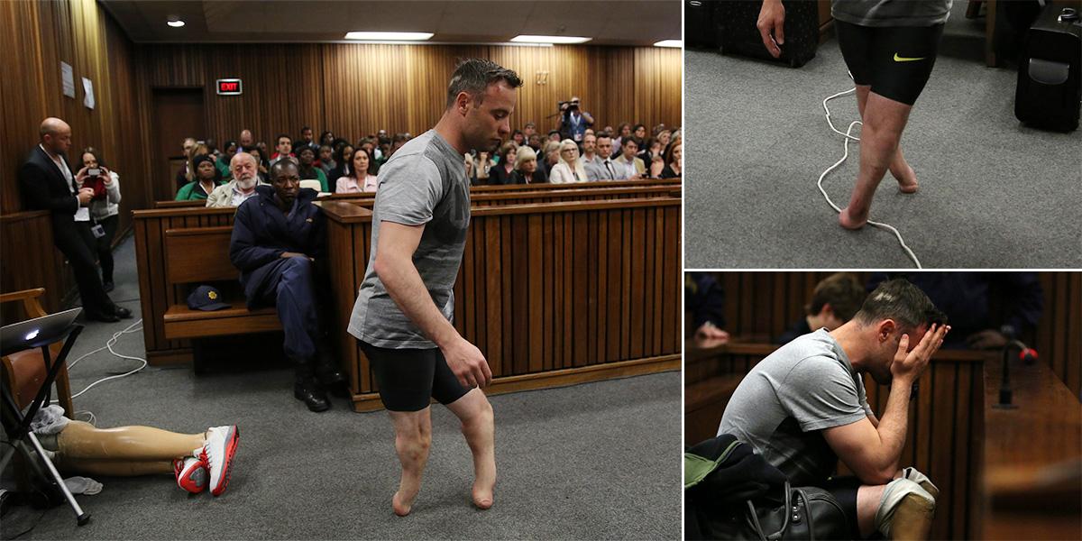 Oscar Pistorius takes prosthetics off in court to show his 'vulnerability'