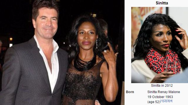 Sinitta reckons Simon Cowell has been messing around with her Wikipedia page