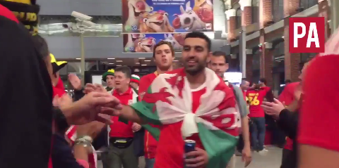 Video: Belgium fans give guard of honour to Wales supporters after Euro 2016 win