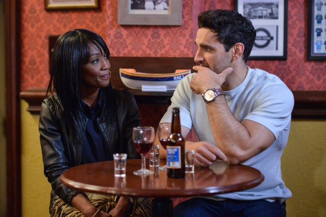 WARNING: Embargoed for publication until 00:00:01 on 19/07/2016 - Programme Name: EastEnders - July - September 2016 - TX: 29/07/2016 - Episode: EastEnders July - September 2016 - 5324 (No. n/a) - Picture Shows: *STRICTLY NOT FOR PUBLICATION UNTIL 00:01HRS, TUESDAY 19th JULY, 2016* ***FORTNIGHTLIES PLEASE DO NOT USE (SOAP LIFE AND ALL ABOUT SOAP) Denise tells Kush that it's best to end their training sessions. Denise Fox (DIANE PARISH), Kush Kazemi (DAVOOD GHADAMI) - (C) BBC - Photographer: Jack Barnes