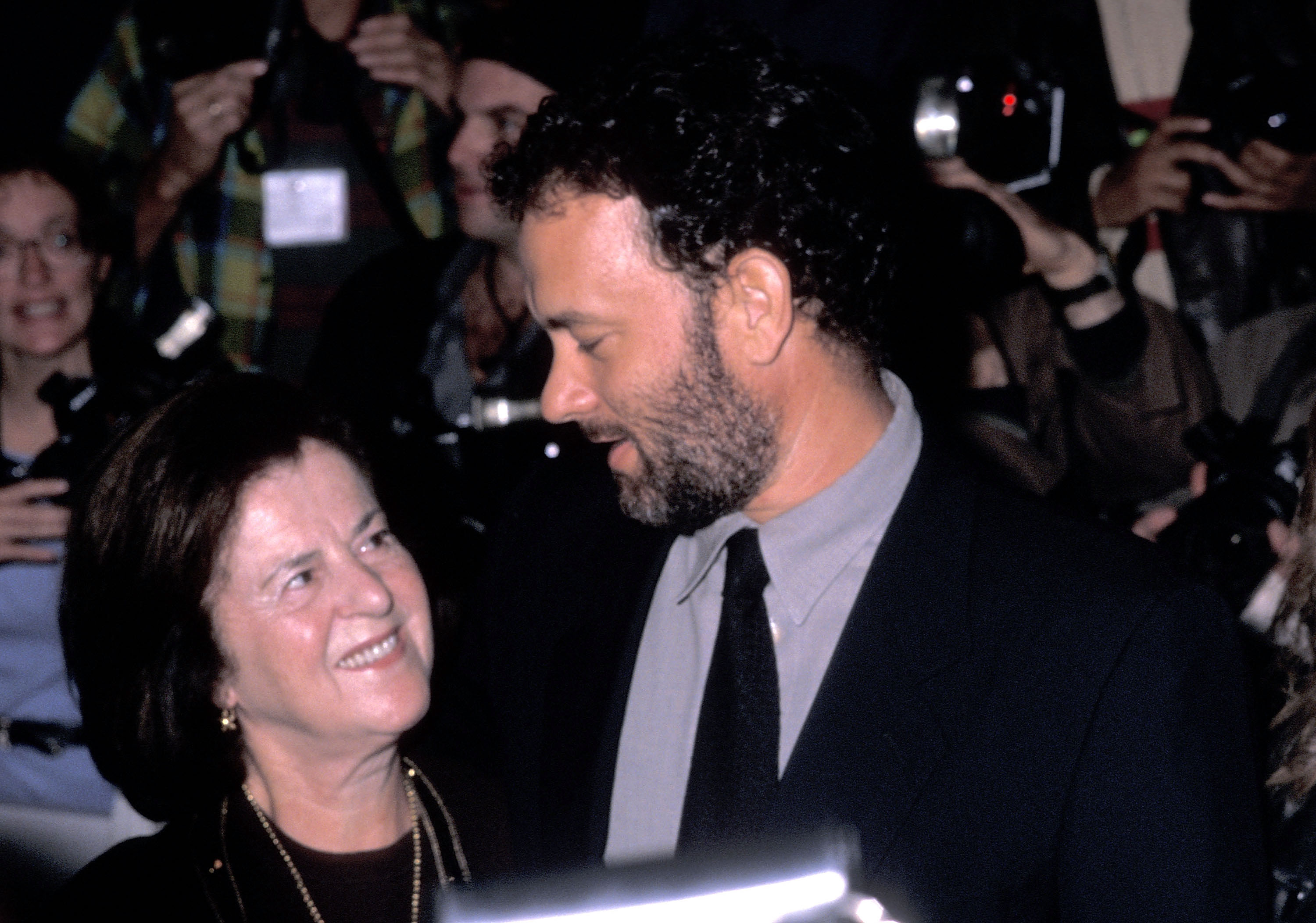 "NEW YORK CITY - OCTOBER 10: Actor Tom Hanks and mother Janet Hanks attend ""The Story of Us"" New York City Premiere on October 10, 1999 at the Ziegfeld Theater in New York City. (Photo by Ron Galella/WireImage)"