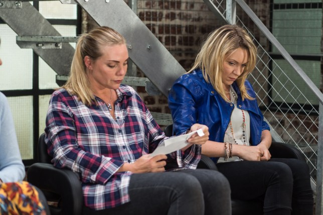 WARNING: Embargoed for publication until 00:00:01 on 26/07/2016 - Programme Name: EastEnders - July - September 2016 - TX: 01/08/2016 - Episode: EastEnders July - September 2016 - 5325 (No. n/a) - Picture Shows: *STRICTLY NOT FOR PUBLICATION UNTIL 00:01HRS, TUESDAY 26th JULY, 2016* Roxy shows Ronnie the letter that came that morning. Ronnie Mitchell (SAMANTHA WOMACK), Roxy Mitchell (RITA SIMONS) - (C) BBC - Photographer: Jack Barnes